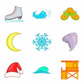 Temperate Climate Icons Set. Cartoon Set Of 9 Temperate Climate Icons For Web Isolated On White Back poster