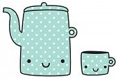 teapot and cup, cute illustration of tea-things