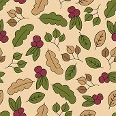 Autumn Seamless Pattern With Leaf, Autumn Leaf Background. Abstract Leaf Texture. Cute Backdrop. Lea poster