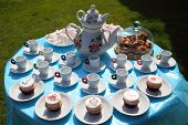 A Festive Table For Children With Cakes And Sweets For Tea And Coffee. Table With Cakes And Sweets F poster