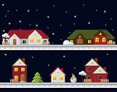 Winter christmas landscape at night