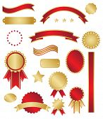 Classic gold and red awards and swirls on white background