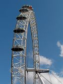 Construction of the London Eye against blue sky