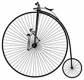 black and white old velocipede