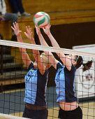 KAPOSVAR, HUNGARY - MARCH 16: Kamilla Gyorbiro (6) in action at the Hungarian Championship volleybal