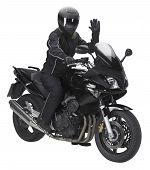 foto of ppe  - a motorbike with saluting biker in white back - JPG