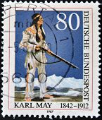 dedicated to the 75th anniversary of the death of Karl May shows the Apache Chief Winnetou