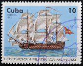 CUBA - CIRCA 1996: A stamp printed in Cuba show antique sail frigate circa 1996