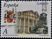 A stamp printed in spain shows the building of the Congress of Deputies