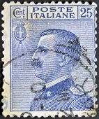 ITALY - CIRCA 1908: A stamp printed in Italy shows the King of Italy Victor Emmanuel III circa 1908