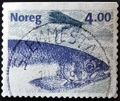NORWAY - CIRCA 1999: A stamp printed in Norway shows image of a salmon circa 1999