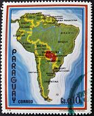 PARAGUAY - CIRCA 1970: A stamp printed in Paraguay shows map of Latin America circa 1970