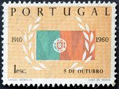 Portugal - Circa 1960: A Stamp Printed In Portugal Shows Flag