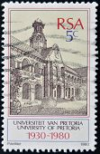 A stamp printed in RSA shows university of Pretoria