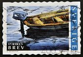 SWEDEN - CIRCA 2002: A stamp printed in Sweden shows detail of a motorboat circa 2002