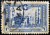 TURKEY - CIRCA 1914: A stamp printed in Turkey shows image Sultan Ahmed Mosque in Istanbul circa 191