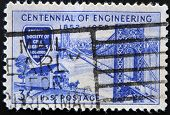 stamp printed in USA shows George Washington Bridge and Covered Bridge of 1850s