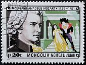 A stamp printed in Mongolia shows image of the famous composer Wolfgang Amadeus Mozart