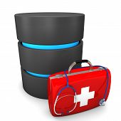 picture of intranet  - A database with emergency case and stethoscope on the white background - JPG