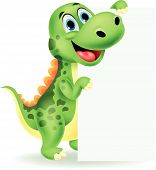 stock photo of prehistoric animal  - Vector illustration of Cute dinosaur cartoon with blank sign - JPG