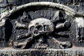 Skull & Crossbones Carving On A Gravestone