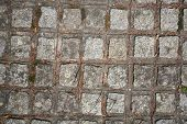 The Fragment Of A Pavement Footpath Paving Stone With Holes