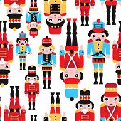 foto of nutcrackers  - Seamless tin soldiers and nutcracker vintage toys illustration background pattern in vector - JPG