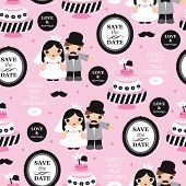 Seamless love and marriage wedding template illustration background pattern in vector