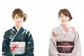 Beautiful japanese kimono women isolated on white background