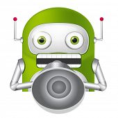Cartoon Character Cute Robot. Speaker. Vector EPS 10.