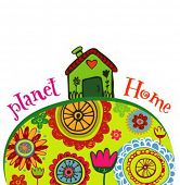 Planet home, ecology concept of Earth as  the green meadow .