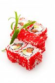 Maki Sushi - Roll with Cream Cheese, Fresh Raw Salmon and Avocado inside. Tobiko (flying fish roe) o