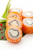 American Maki Sushi - Philadelphia Roll made of Cream Cheese  inside. Fresh Raw Salmon outside