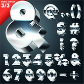Vector alphabet of simple 3d letters. Sans bold. Symbols Chrome