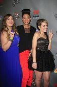 WEST HOLLYWOOD, CA - MAY 8:  Sarah Simmons, Judith Hill, Amber Carrington at the NBC's 'The Voice' Season 4 Red Carpet Event at the House of Blues on May 8, 2013 in West Hollywood, California