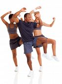 happy group doing aerobic dance, isolated on white
