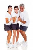 happy sporty family isolated on white background