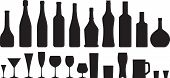 stock photo of vodka  - wine glass and bottle silhouettes set - JPG