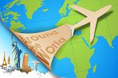 foto of aeroplane  - illustration of airplane flying in travel background with monument - JPG