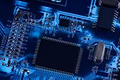stock photo of microchips  - macro photo of electronic circuit - JPG