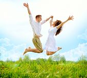picture of jumping  - Happy Couple Outdoor - JPG