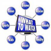Ein Raster des Fernsehens Programmierung Vorschläge rund um ein Bild von einem HDTV--Film, Sport, Nachrichten