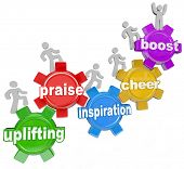 The words Uplifting, Praise, Inspiration, Cheer and Boost to illustrate the achievements and improve