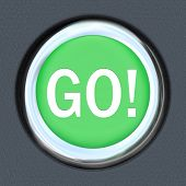 The word Go on a car start button to illustrate acceleration and movement forward toward a goal or t