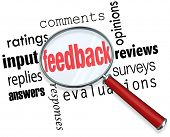 The words feedback, ratings, input, replies, answers, responses, comments, opinions, reviews, survey