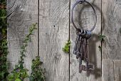 Old rusty key ring on rustic background
