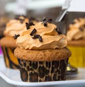 Chocolate coffee cupcake, with leopard print