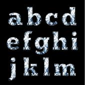 Shiny diamond alphabet letters (lowercase) - eps10