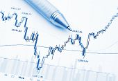 Business financial Chart mit Stift