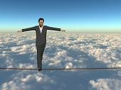 Conceptual concept of businessman or man in crisis walking in balance on rope above  clouds sky back